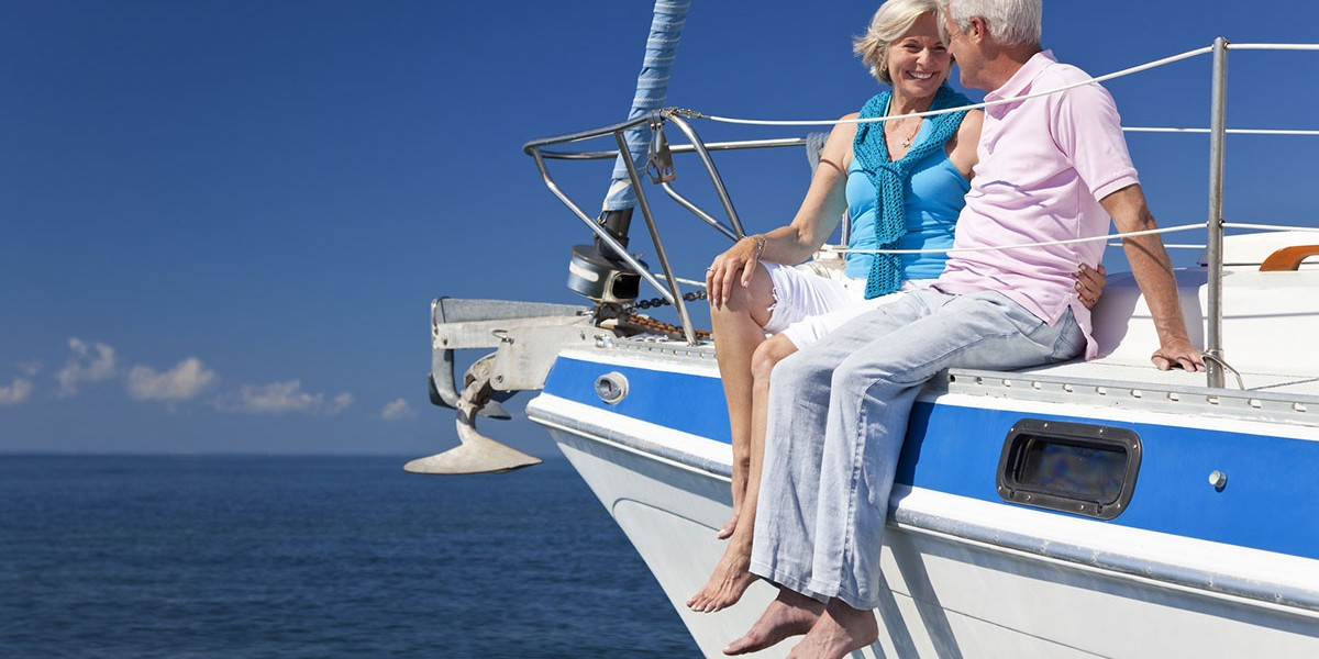 retired elderly couple on yacht