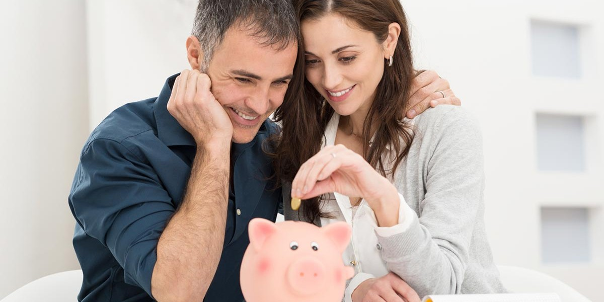 adult male woman saving money in piggy bank